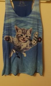 Nirvana/cat razorback tank top